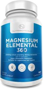 2250mg Pure Magnesium Citrate Max 360mg Elemental - 180 Vegan Capsules £5 (+£4.49 noNPrime) Sold by Maxxi Retail and Fulfilled by Amazon