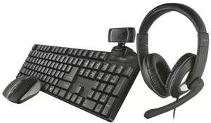 Trust 24105 QOBY 4 in 1 Bundle - Trino HD Webcam, Reno headset, Ximo wireless keyboard & Mouse Set £39.99 at Argos - free click & collect
