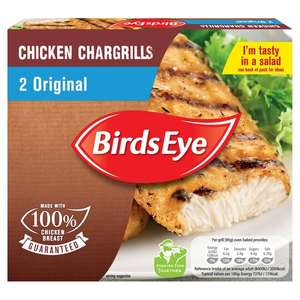 Birds Eye 2 Original Chicken Chargrills 182G £1 Clubcard Price at Tesco (Min Basket / Delivery Charge Applies)