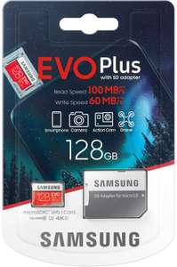 Samsung Evo plus 128GB Micro SD SDXC Class 10 memory card U3 100MB/S (MB-MC128HA APC) £13.13 Sold by Memory-Direct and Fulfilled by Amazon
