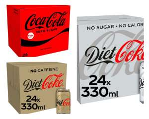 Coca Cola Coke Zero / Diet Coke / diet coke caffeine free 24X330ml £7 Clubcard Price (Minimum Basket / Delivery Fee Applies) @ Tesco
