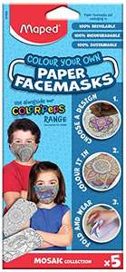Maped Childrens Colour Your Own Paper Face Masks (Pack of 5) Colouring Activity - £1.40 with voucher (+£4.49 Non Prime) @ Amazon