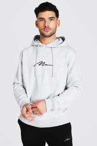 Man Signature Over the Head Hoodie Now £4.20 with code + free next day delivery @ BoohooMAN