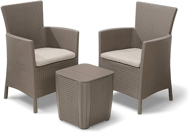 Allibert Iowa Balcony Set Cappuccino/Sand Poly Cotton Cushion - £86.98 Delivered (UK Mainland) @ Amazon sold by Amazon EU