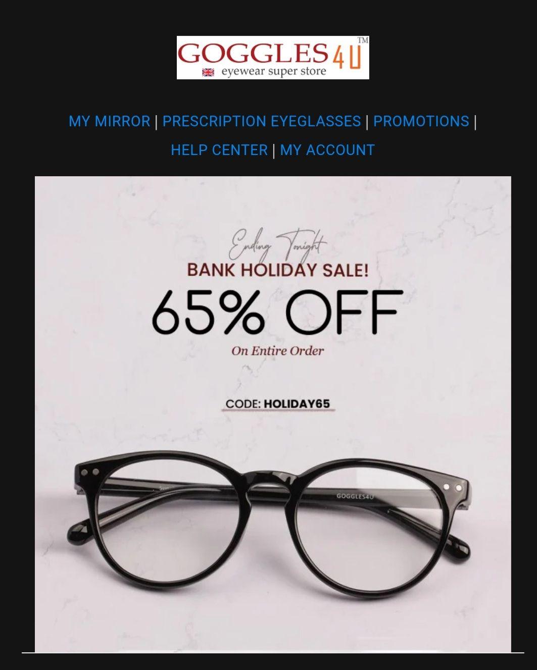 65% off site wide @ Goggles4u