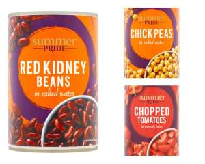 Summer Pride chopped tomatoes/chick peas/red kidney beans 400g - 4 for £1 Clubcard Price (Minimum Basket / Delivery Fee Applies) @ Tesco