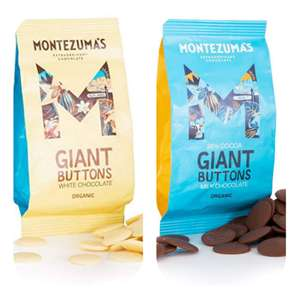 Montezuma's 38% Cocoa Giant Milk Chocolate/white Buttons GlutenFree and Organic 180g Bag £3.19 (£4.49 p&p np) £2.71/£3.03 s&s @ Amazon
