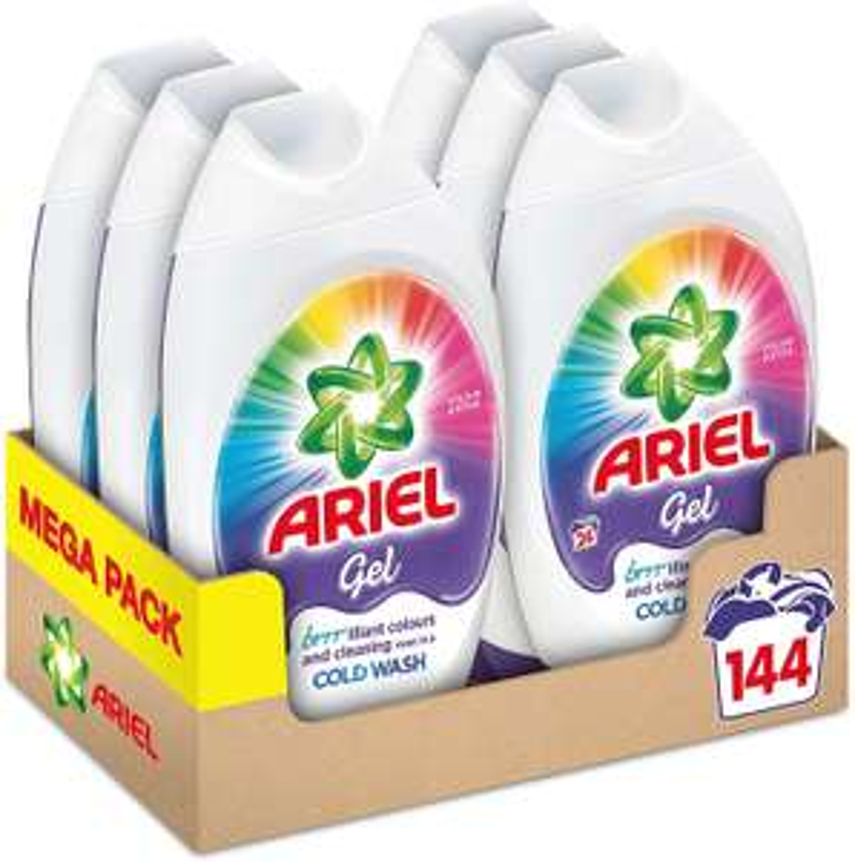 Ariel Washing Liquid Laundry Detergent Gel, 144 Washes (6 x 888 ml) - £18 (+£4.49 Non Prime) @ Amazon