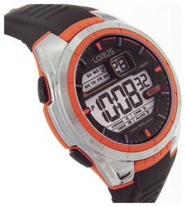 Lorus Men's Black Silicon Strap Orange Detail Watch now £14.99 + 2 year guarantee (Click and Collect) @ Argos