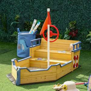 Kids Wooden Pirate Ship Sandbox / Sandpit with Bench now £95.99 delivered using code (UK mainland) @ eBay / Outsunny