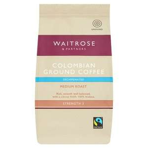 Waitrose Decaffeinated Colombian Ground Coffee 227g £3.50 each or 2 for £4