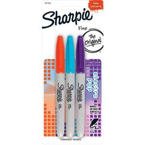 Sharpie Fine Permanent Markers Limited Edition Electro Pop (Pack of 3) for £1 @ Ryman - + £1.99 Click & Collect / £3.95 delivery