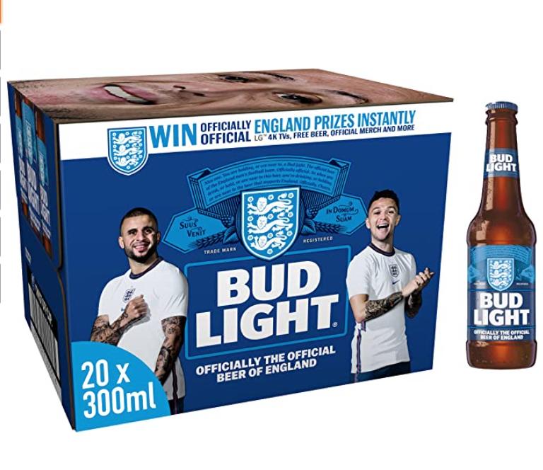 Bud Light Lager Beer - 20 x 300ml bottles - £10 Prime - Non Prime 14.49 @ Amazon