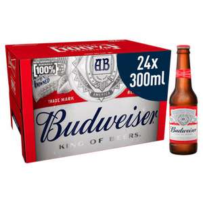 Budweiser Lager Beer Bottles 24 x 300ml - £11.97 @ ASDA