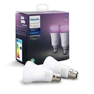 Philips Hue White & Colour Ambiance Smart Bulb Twin Pack LED B22 Bayonet Cap with Bluetooth £40.52 Used - Like New @ Amazon Warehouse