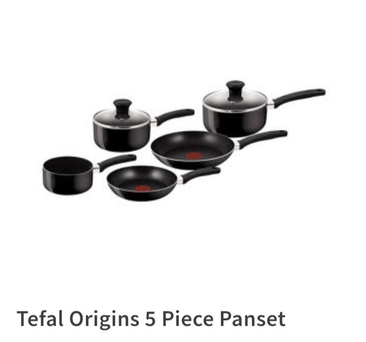 Tefal Origins 5 Piece Pots and Pans set, Black, 20 & 24CM Frying Pans, 16 & 18 & 20CM Saucepans with Lids £17.50 @ ASDA (Clydebank)