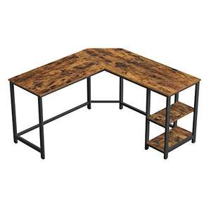 VASAGLE Computer Desk, L-Shaped Writing Workstation, Corner Study Desk with Shelves for Home Office - £67.99 - Sold by Songmics / FBA