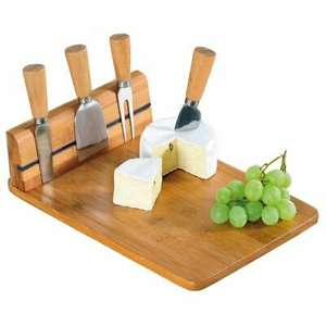 Natural Wooden Bamboo Magnetic Cheese Board with Cutting Tool Set - £5.99 delivered @ pink_and_blue_gifts1 / ebay