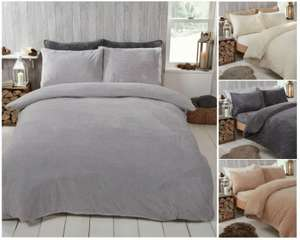 Teddy Fleece Double Duvet Cover with Pillow Cases Thermal Warm Bedding Set - Grey - £11.99 delivered @ noah-linen / ebay