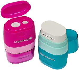 Swordfish Twin Combo Pencil Sharpener and Eraser – Assorted Colours [Pack of 1] £1.99 (+£4.49 Non-Prime) @Amazon
