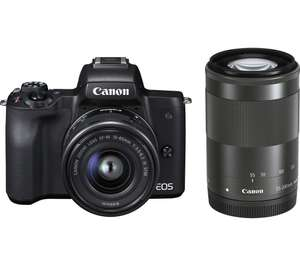 CANON EOS M50 Mirrorless Camera with EF-M 15-45 mm f/3.5-6.3 IS STM & 55-200 mm f/4.5-6.3 IS STM Lens £699 @ Currys