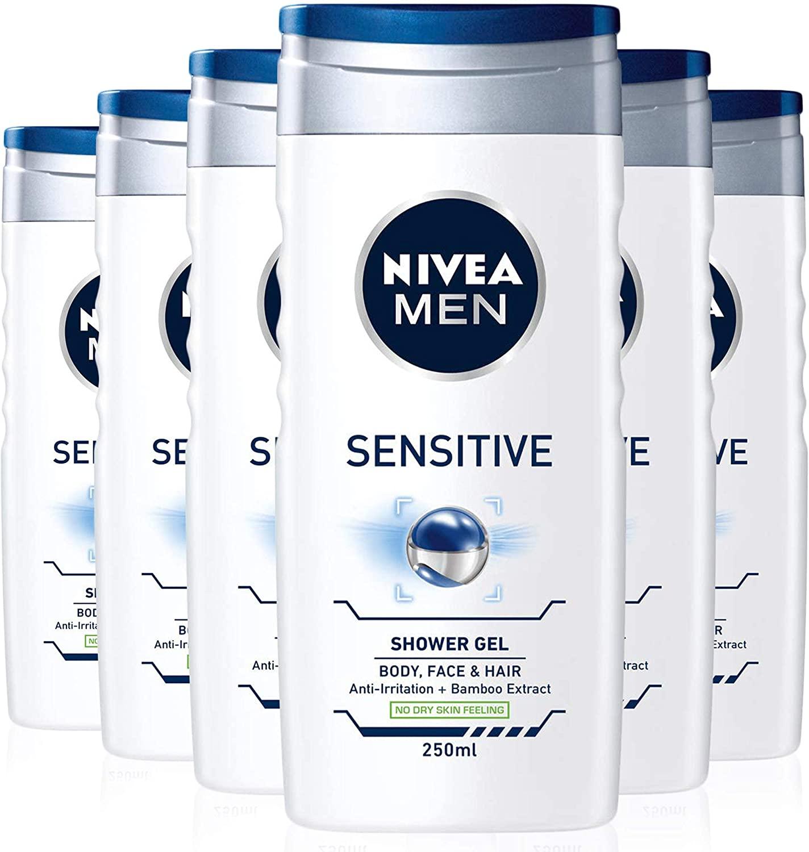 Nivea MEN Sensitive Shower Gel Pack of 6 £4.80 / £4.32 S&S (Prime) + £4.49 (non Prime) at Amazon