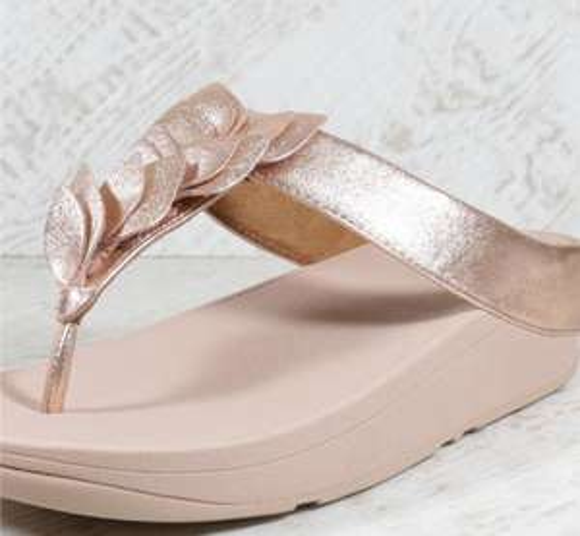 Womens Fitflop Fino Leaf Toe Rose Gold Thong Sandals (AGF1) £24.99 ebay / bigbrandoutlet2015