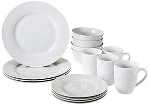 Amazon Basics AmazonBasics 16-Piece Dinnerware Set, Service for 4, AB-grade porcelain, White £18.61 Prime (+£4.49 Non-Prime) @ Amazon