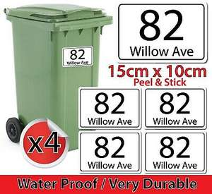 4 x Personalised Wheelie Bin Numbers Custom House & Road Street Name Stickers A6 £1.68 delivered at thestickerswall eBay