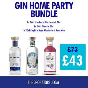 3x70cl Bottles of Gin - Ironbark Wattleseed Gin, Ginetic Gin & English Rose Rhubarb & Rose Gin £43 Delivered (UK Mainland) @ The Drop Store