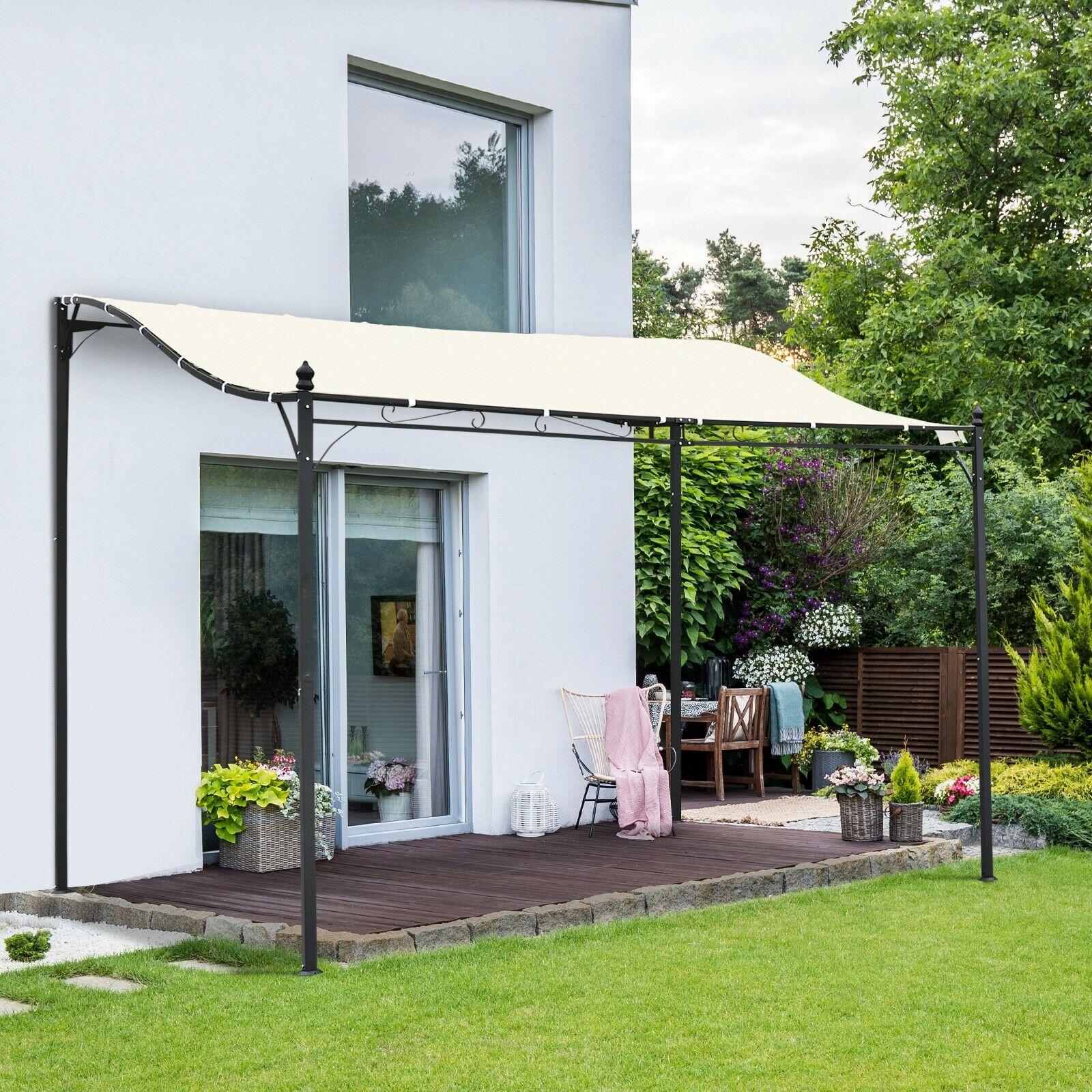 3 x 3 m Canopy Metal Wall Gazebo Awning Garden Marquee Shelter Door Porch in Cream £136.79 (UK Mainland) @ eBay 2011homcom