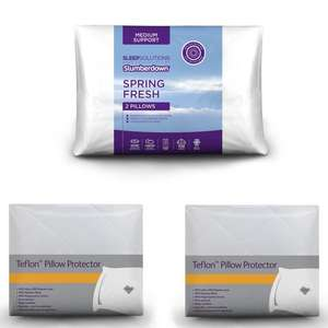 Free Teflon Protector With Every Pillow - EG: 2x Slumberdown Spring Fresh Support Pillow + 2x Protectors £8.99 (UK Mainland) @ Sleepseeker