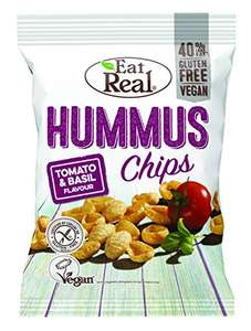 Eat Real Hummus Tomato and Basil Chips, 135 g, Pack of 10 - £10 Prime / +£4.49 non Prime at Amazon