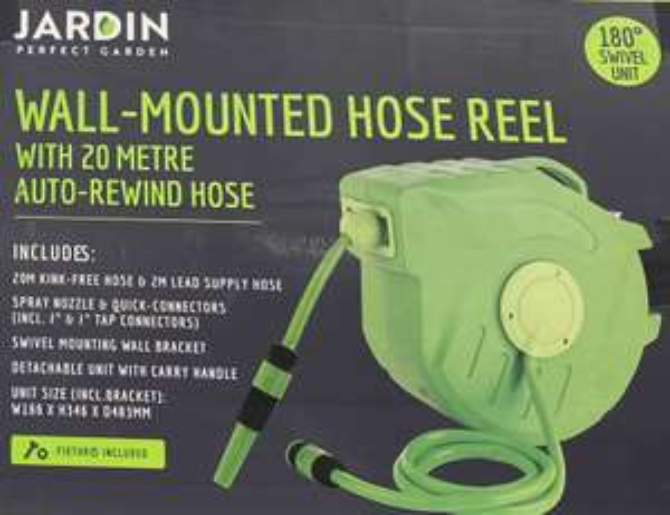 Jardin Wall Mounted Hose Auto Reel 20m, Green - £44.99 instore @ Home Bargains, Bury