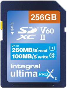 Integral 256GB UHS-II SD Card v60 Up to 260MBs Read and 100MBs Write Speed SDXC - £55.58 Usually dispatched within 2 to 5 weeks @ Amazon