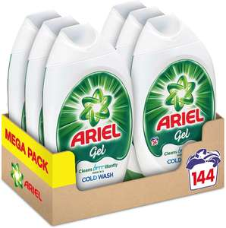 Ariel Washing Liquid Laundry Detergent Gel, 144 Washes (6 x 888 ml) £18 (+£4.49 Non Prime) @ Amazon