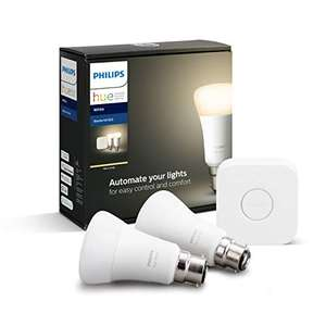 Philips Hue White Starter Kit With Bridge: Smart Bulb Twin Pack LED [B22 Bayonet Cap] Like New £27.04 - Sold by Amazon WH @ Amazon