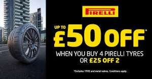 """Buy 4 (16"""" and above) Pirelli Tyres and get £50 off (£25 off for 2 tyres) @ ATS Euromaster"""