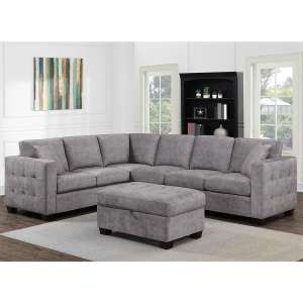 Thomasville Kylie Grey Fabric Corner Sofa with Storage Ottoman £1299.99 @ Costco
