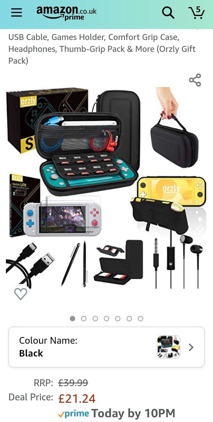 Nintendo Switch lite accessories bundle.Was £39.99 now £21.24