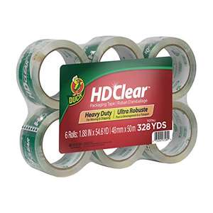 Duck HD Clear Packaging Tape BULK 6 Pack (300m of Tape) £12.49 prime / £16.98 non prime @ Amazon