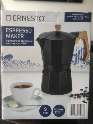 Espresso stovetop 9 cup mokka pot only 7.99 at Lidl