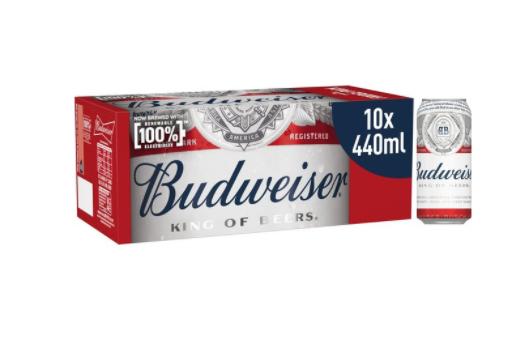 2 For 16 Budweiser Lager Beer Bottles 10 x 400ml and Stella Artois Premium Lager Beer Cans 10 x 440ml @ Morrisons
