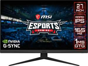 "MSI Optix G273QF Quad HD 27"" IPS 300nits 165 Hz G-Sync Gaming Monitor, £284.05 at Currys on eBay"