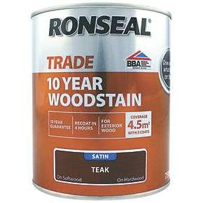Ronseal Trade 10 year exterior woodstain 750ml pots in various colours for £9.99 click & collect @ Screwfix