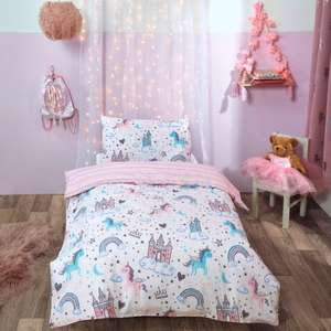 Dreamscene Unicorn Kingdom Junior/cot Duvet Set - Pink - £8.95 Delivered (UK Mainland) @ OnlineHomeShop