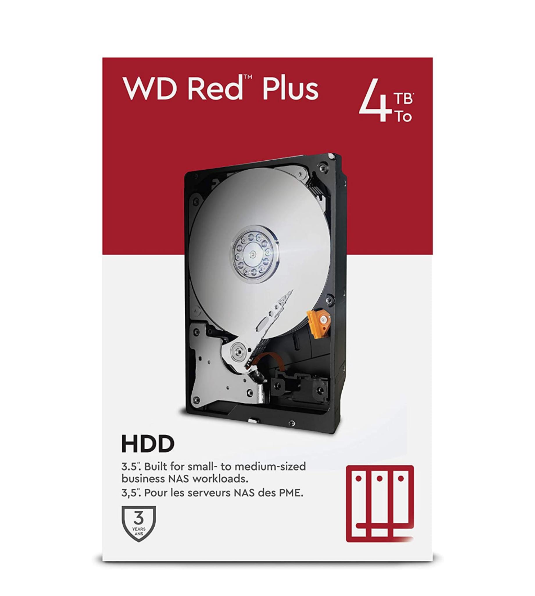 "WD Red Plus 4TB NAS 3.5"" Internal Hard Drive - 5400 RPM Class, SATA 6 Gb/s, CMR, 64MB Cache £92.99 @ Amazon"