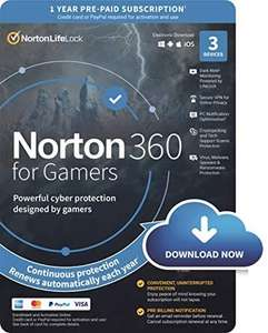 Norton 360 for Gamers 2021, Antivirus software 3 Devices & 1-year subscription with automatic renewal, Secure VPN £15.99 @ Amazon