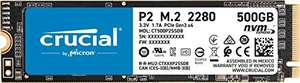 Crucial P2 CT500P2SSD8 500 GB Internal SSD, Up to 2400 MB/s (3D NAND, NVMe, PCIe, M.2), Black - £41.99 @ Amazon