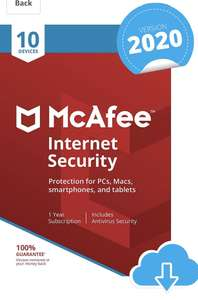 McAfee Internet Security 2021 10 Devices 1 Year | PC/Mac/Android/Smartphones - Download Code £14.99 sold by Amazon Media EU